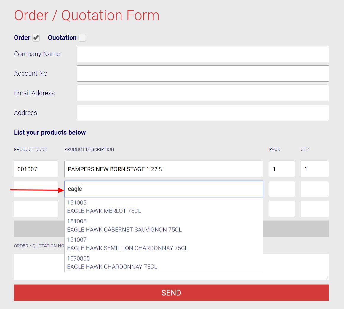 online order form